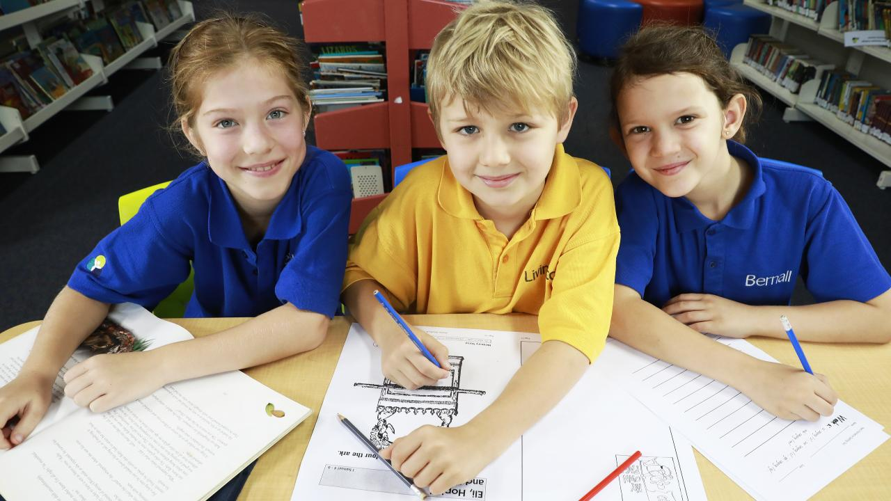 Ava Van Den Belt, 8, Oliver Cox, 8, Amelia Grant, 7, are ready for NAPLAN at Brisbane Christian College in Salisbury. Picture: AAP/Claudia Baxter