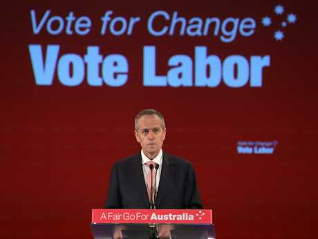 Opposition Leader Bill Shorten addressing a campaign rally on Sunday. Picture: Kym Smith