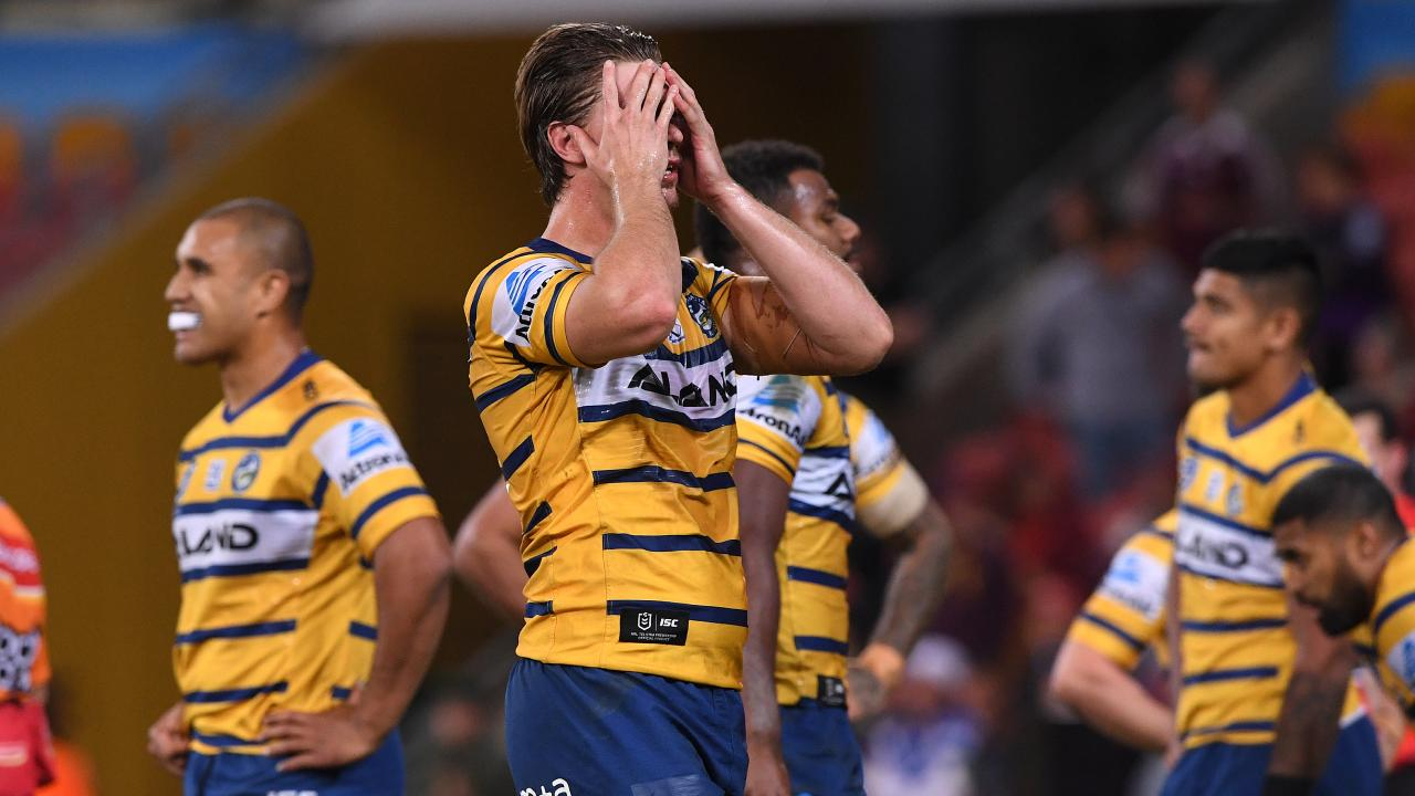 Shaun Lane and the Eels react during Parramatta's thrashing against the Storm. Picture: AAP