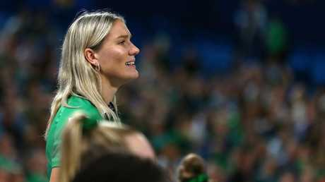 Courtney Bruce watches a match from the sidelines. Picture: AAP Image/Gary Day
