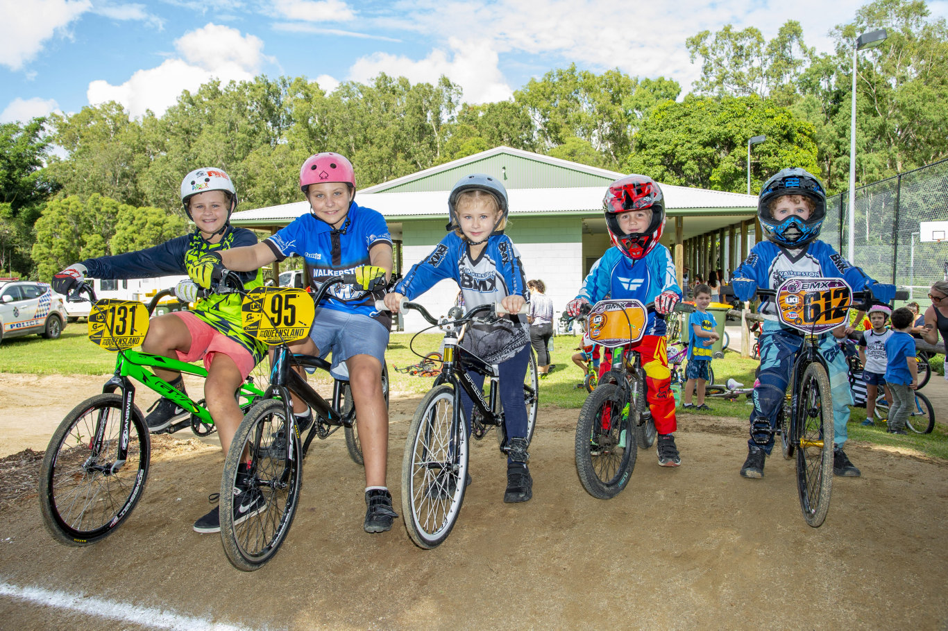 Lined up at Seaforth BMX track are (from left) Tyler, Liam and Sienna Skaines and Jhy and Blair Steven. Photo: Daryl Wright