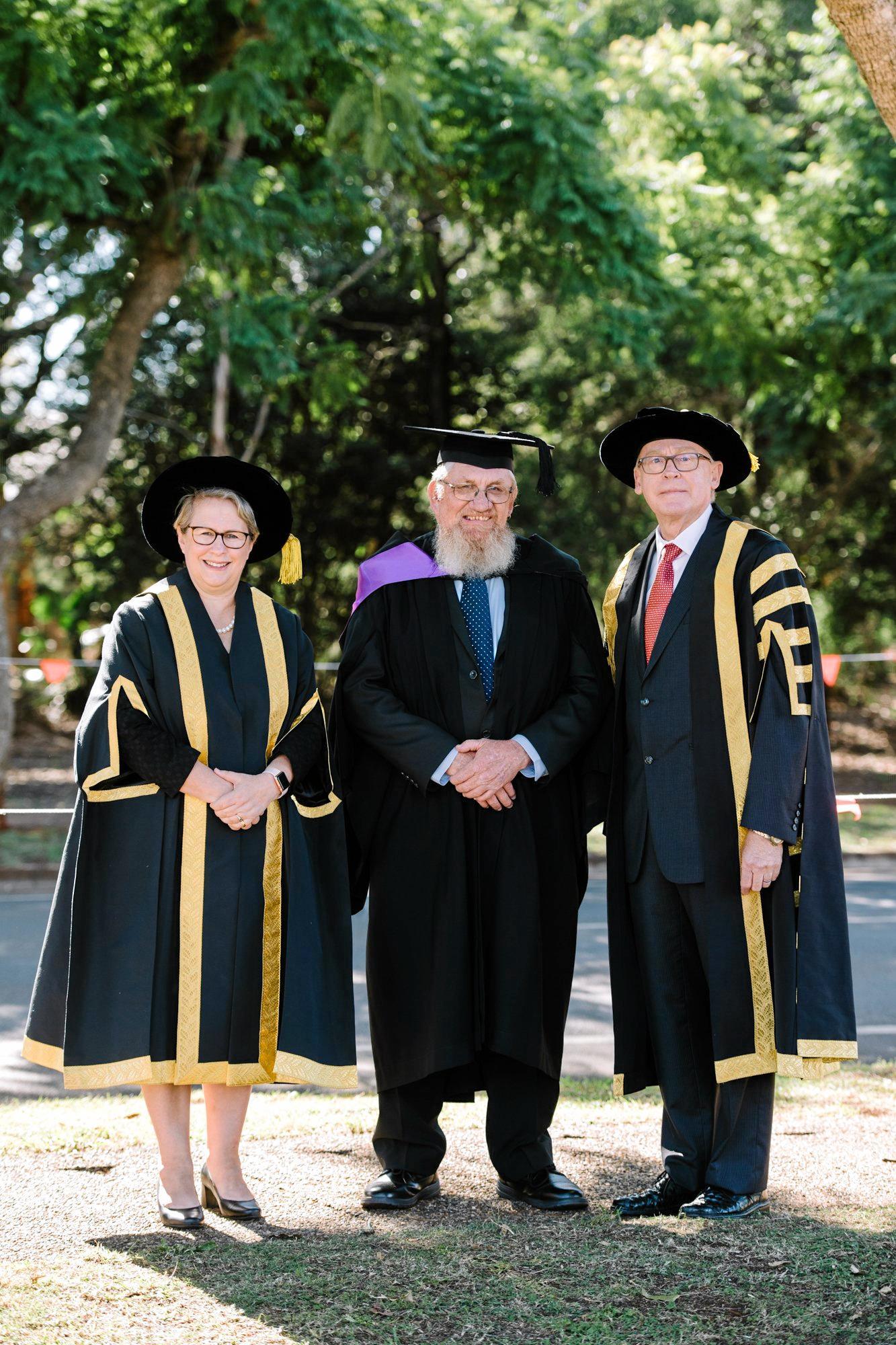 Phillip Costello with USQ Vice-Chancellor Professor Geraldine Mackenzie and Chancellor John Dornbusch.
