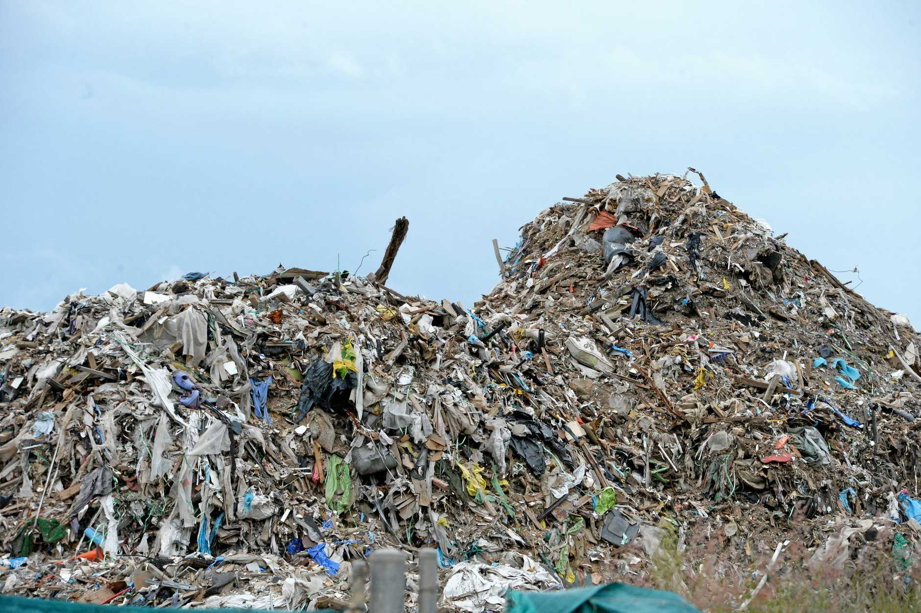 Rubbish pile at BMI site in the Swanbank Recycle Park.