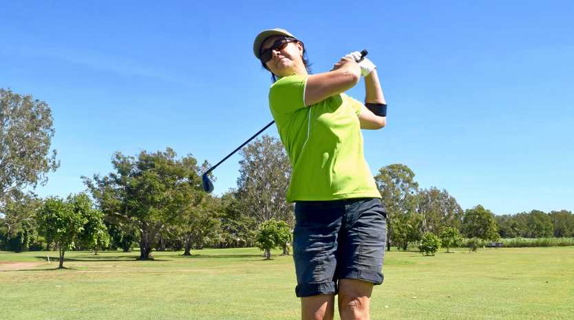 IN TOP SWING: Trish McNeill, from Cannonvale, at the Proserpine Golf Club on Saturday.