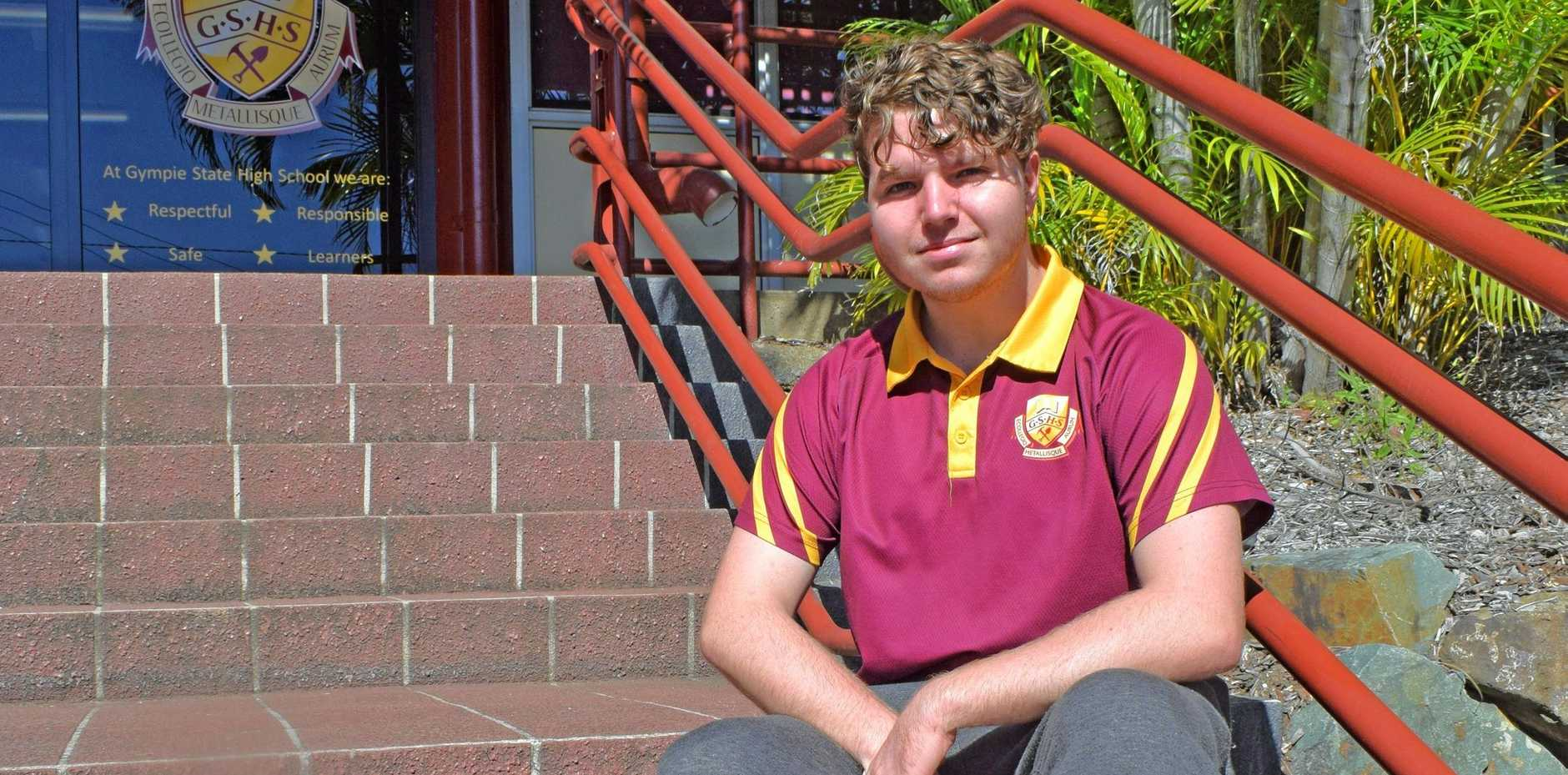 ALL ABOUT THAT BASS: Gympie State High School's Gabriel Laidler-Burns is trying his hand at every art form he can find.