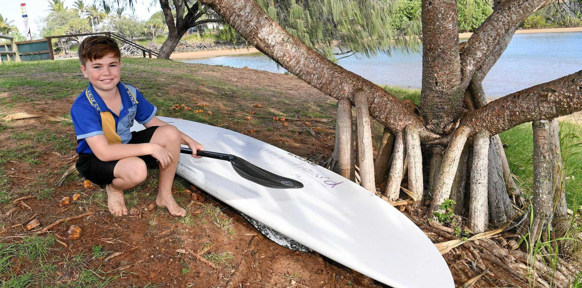PADDLE AWAY: Hudson McKenzie said the board would be great for people who don't own one, and he may come and use it soon.