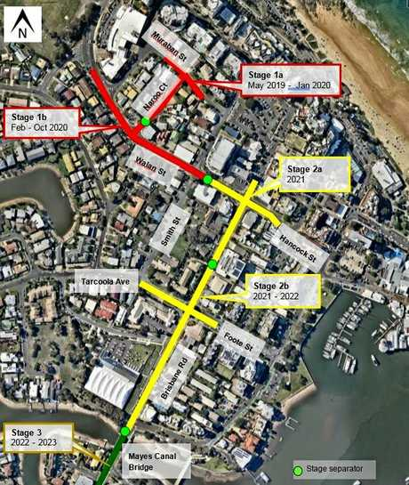 BUSY: Stages 1 and 2 of road works and widenings to come in Mooloolaba.