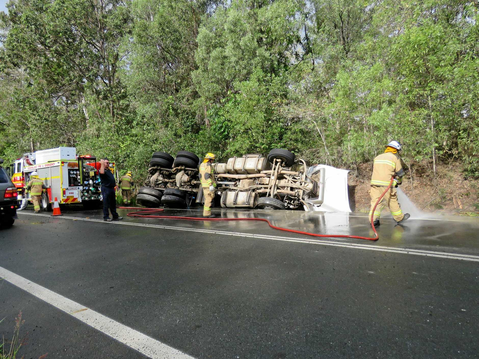 A truck rolled off Cooroy Noosa Road on Monday about 1.45pm, just west of Dath Henderson Road.