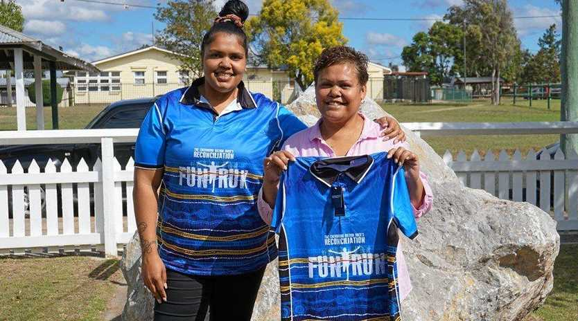 FUN RUN: Cassandrah and Lisa Bond prepare for the Cherbourg Ration Shed Reconciliation Fun Run.