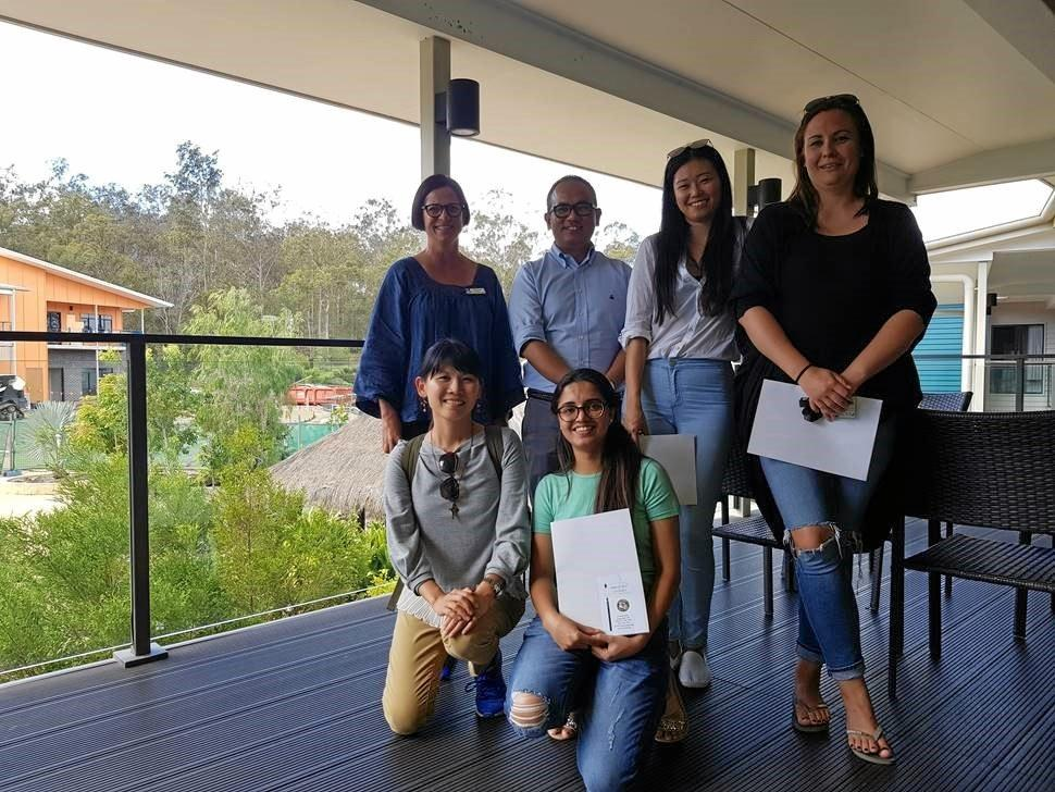 (Back, left to right) USC Nursing lecturers Sam Edwards and Apil Gurung with Nursing Science students Chin Hsiao Louise Johannesson, (front, left to right) Chui Ying (Teresa) Lai and Komal Preet Kaur.
