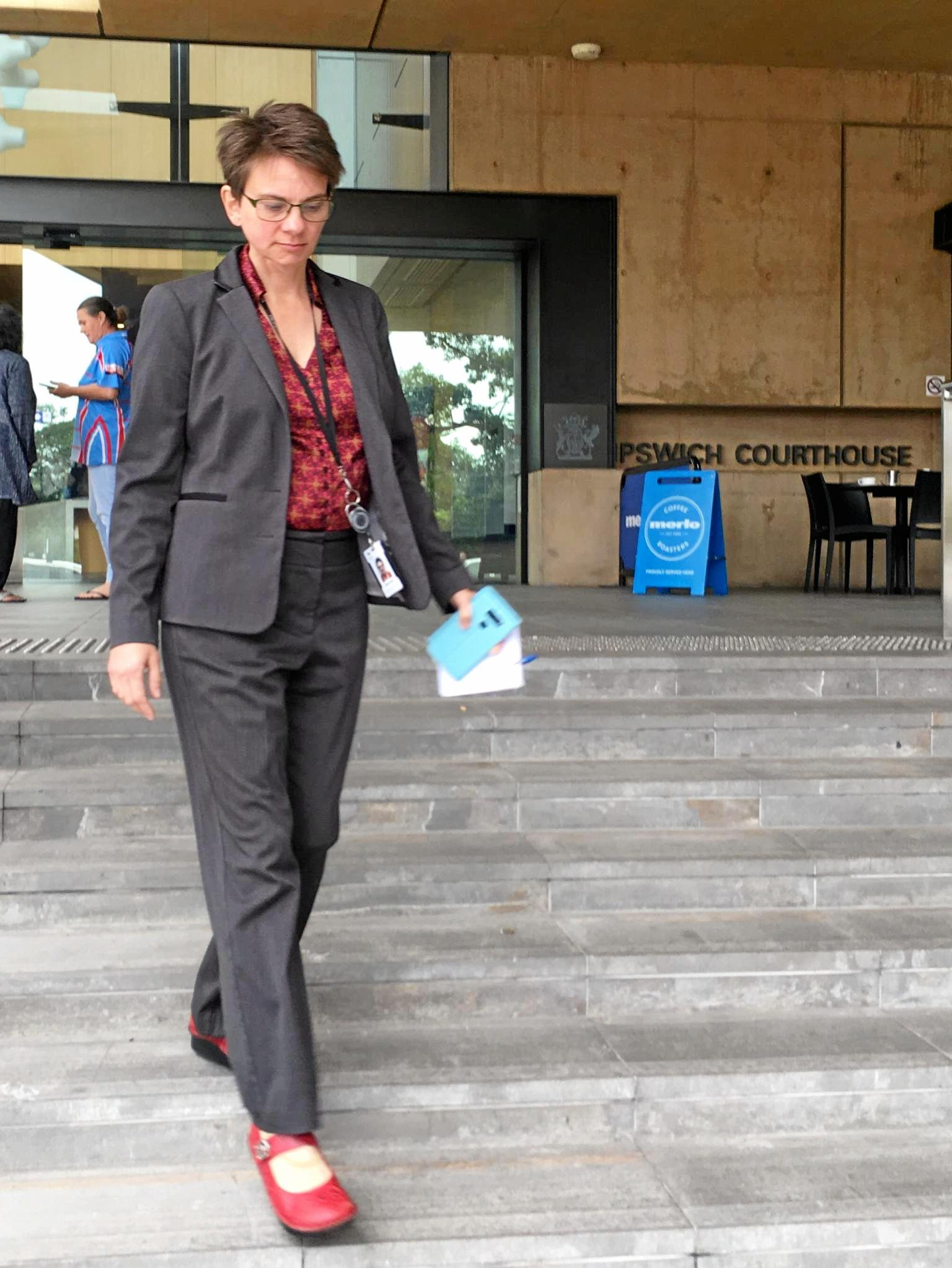 Lawyer Nikki Parker leaves Ipswich Court after testifying in the trial of Andrew Antoniolli.