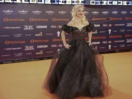 Kate Miller-Heidke hit the orange carpet in Tel Aviv. Picture: AP
