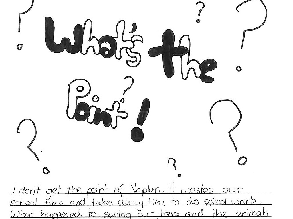 """Another child asked """"What's the point?"""" of taking NAPLAN, describing it as a waste of time."""