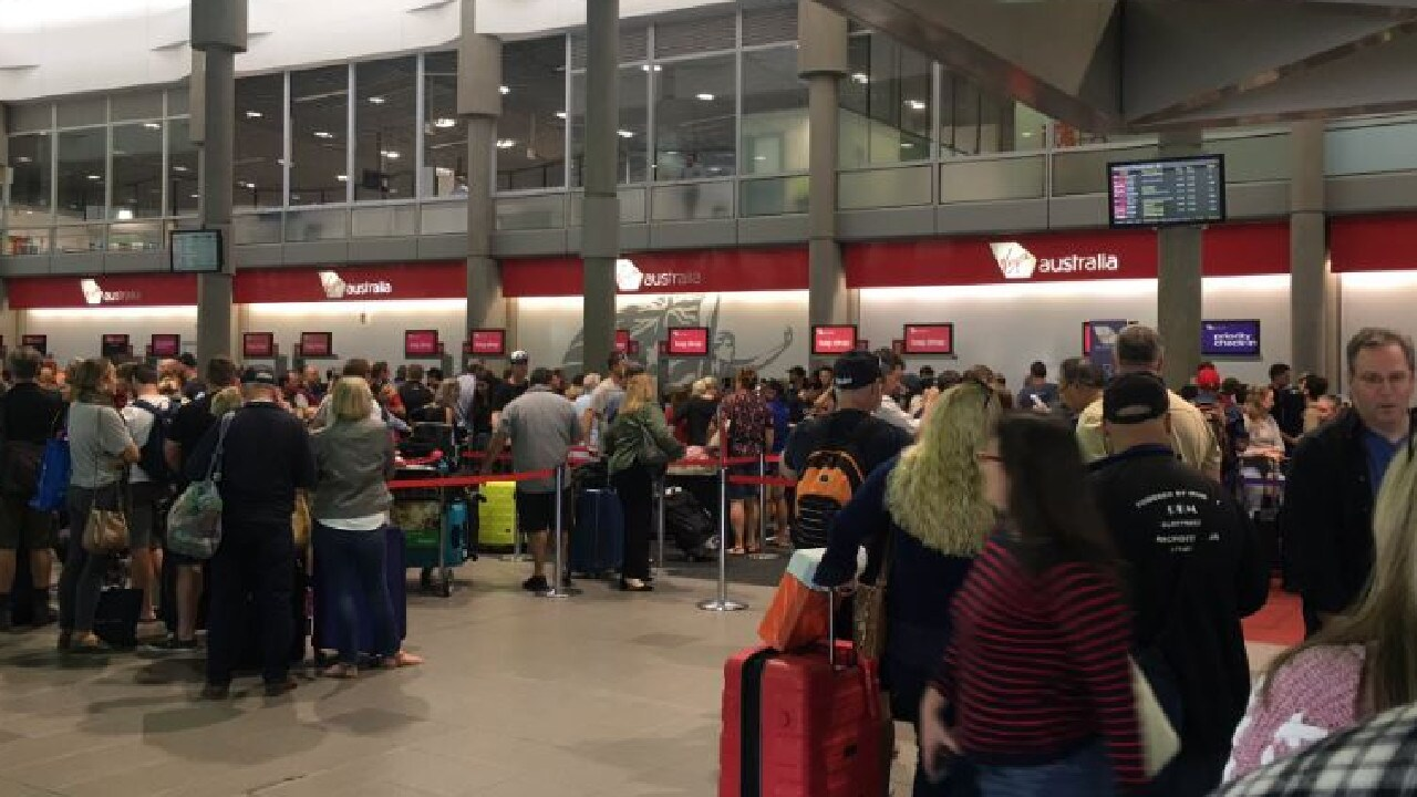 Major delays have been experienced at Brisbane Airport as Virgin Airlines experiences technical difficulties. Picture: Zane Bojack/Twitter