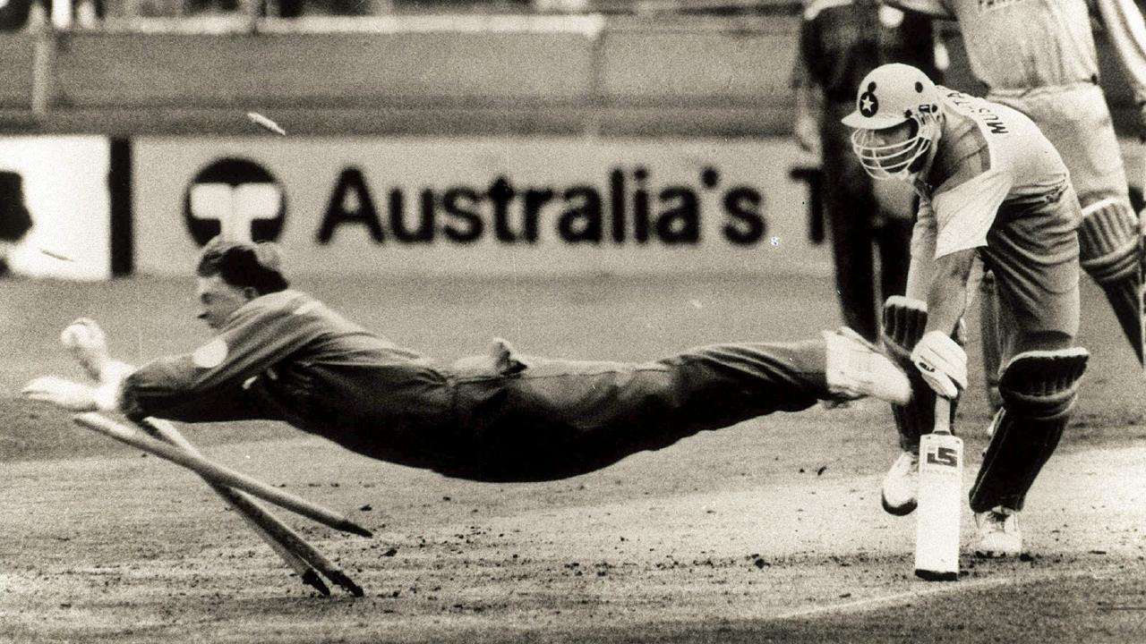 South Africa's Jonty Rhodes dives full length at the stumps to run out Pakistan's Inzamam Ul-Haq during the 1992 World Cup at the Gabba, Brisbane. Picture: Jim Fenwick