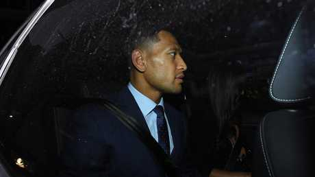 Wallabies star Israel Folau leaves a Code of Conduct hearing in Sydney. Picture: AAP