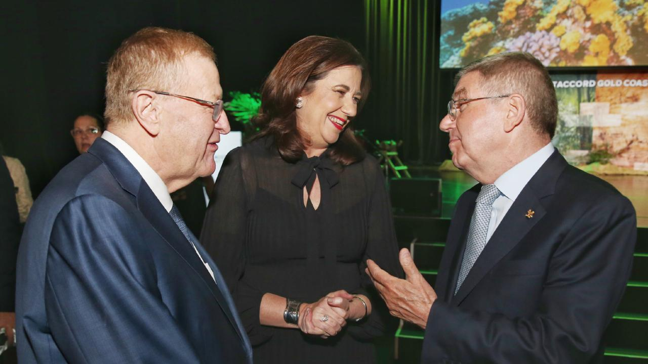 Premier Annastacia Palaszczuk (centre) with IOC President Thomas Bach (right) and Australian Olympic chief John Coates on the Gold Coast last week.