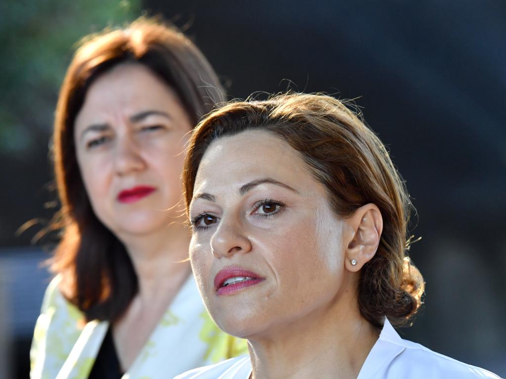 Treasurer Jackie Trad (front) with Premier Annastacia Palaszczuk
