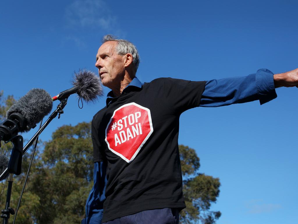 Activist and former Greens leader Bob Brown addresses the anti-Adani convoy outside Parliament House in Canberra.