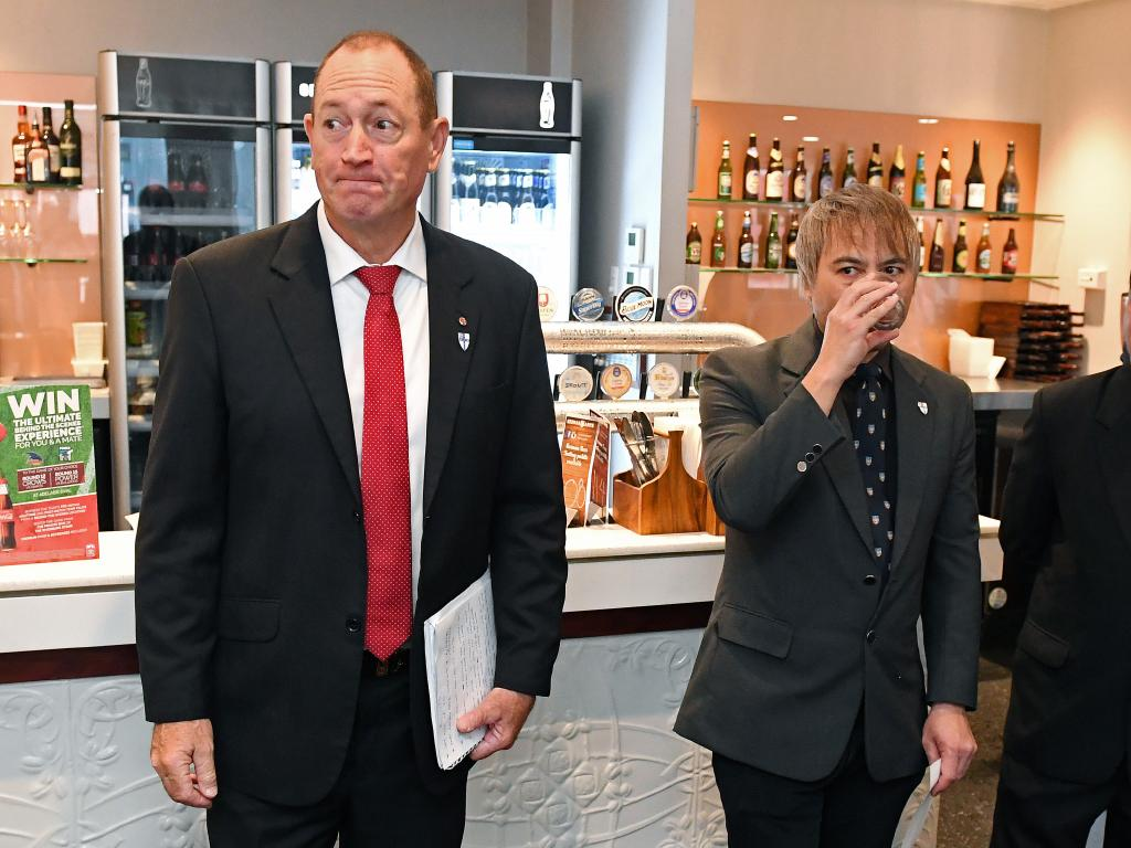 Fraser Anning introduces his candidates Adrian Cheok and Rajan Vaid. Picture: Tom Huntley