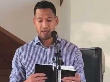 Israel Folau was back in church on Sunday.
