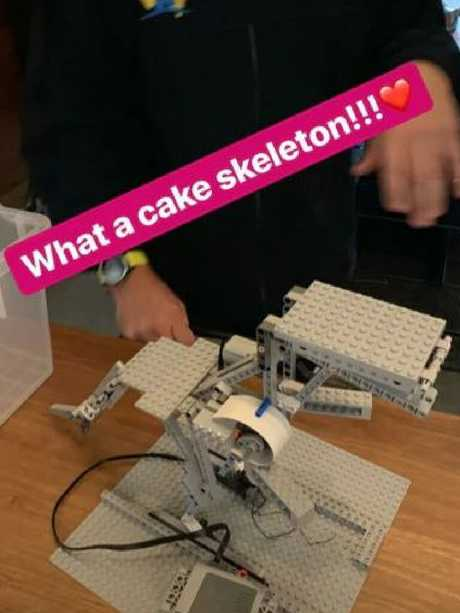 He started with a LEGO skeleton.