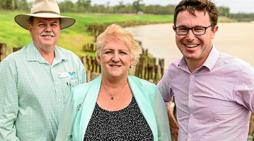 Fitzroy Basin Association's Jeff Krause, Capricornia MP Michelle Landry and Agricultural Minister David Littleproud inspect the works.