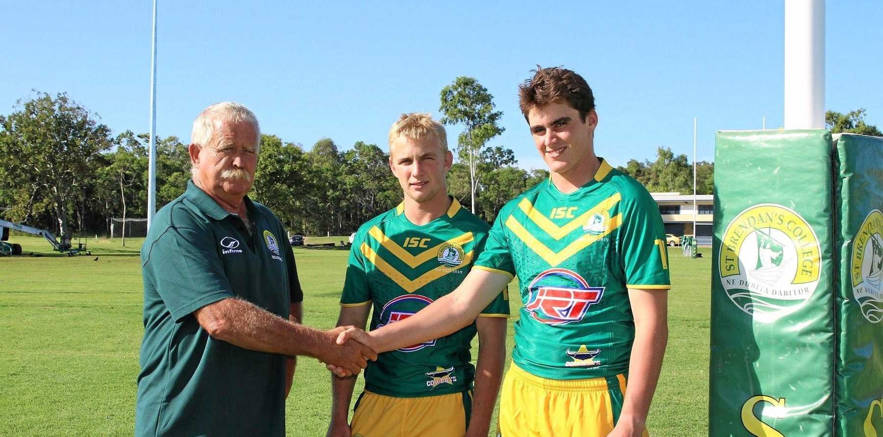 GAME ON: St Brendan's College First XIII coach Terry Hansen with co-captains Bill Gunning and Sam Strohfeldt.