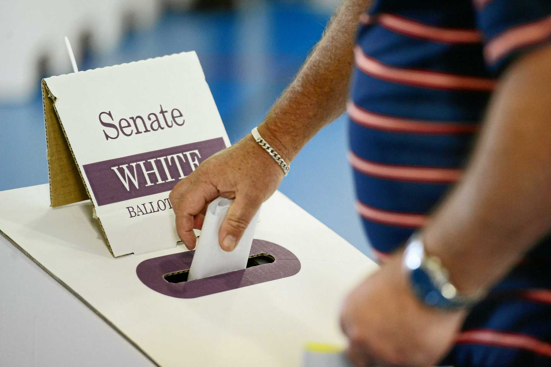 Voting at Springfield Lakes State School on polling day. Photo: David Nielsen / The Queensland Times