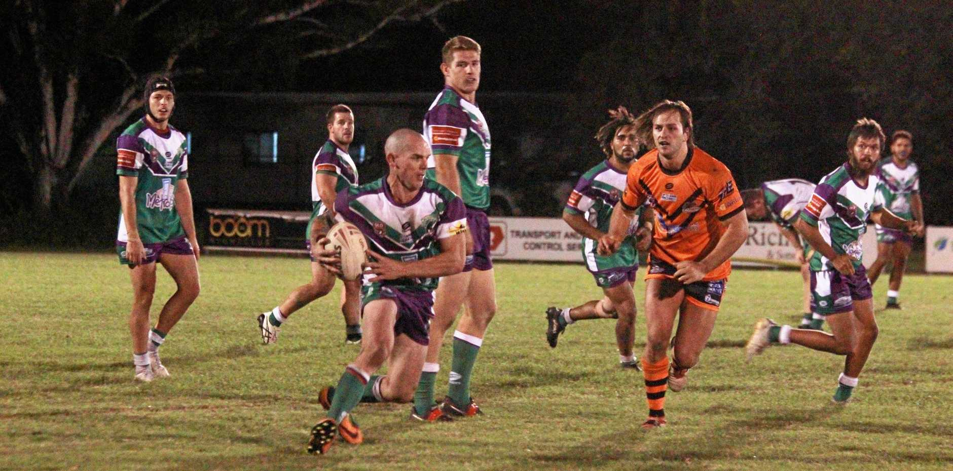 ON THE MOVE: Whitsunday Brahmans hooker Clint Broomham darts out of dummy-half in last Saturday's win against Wests at Les Stagg Oval.