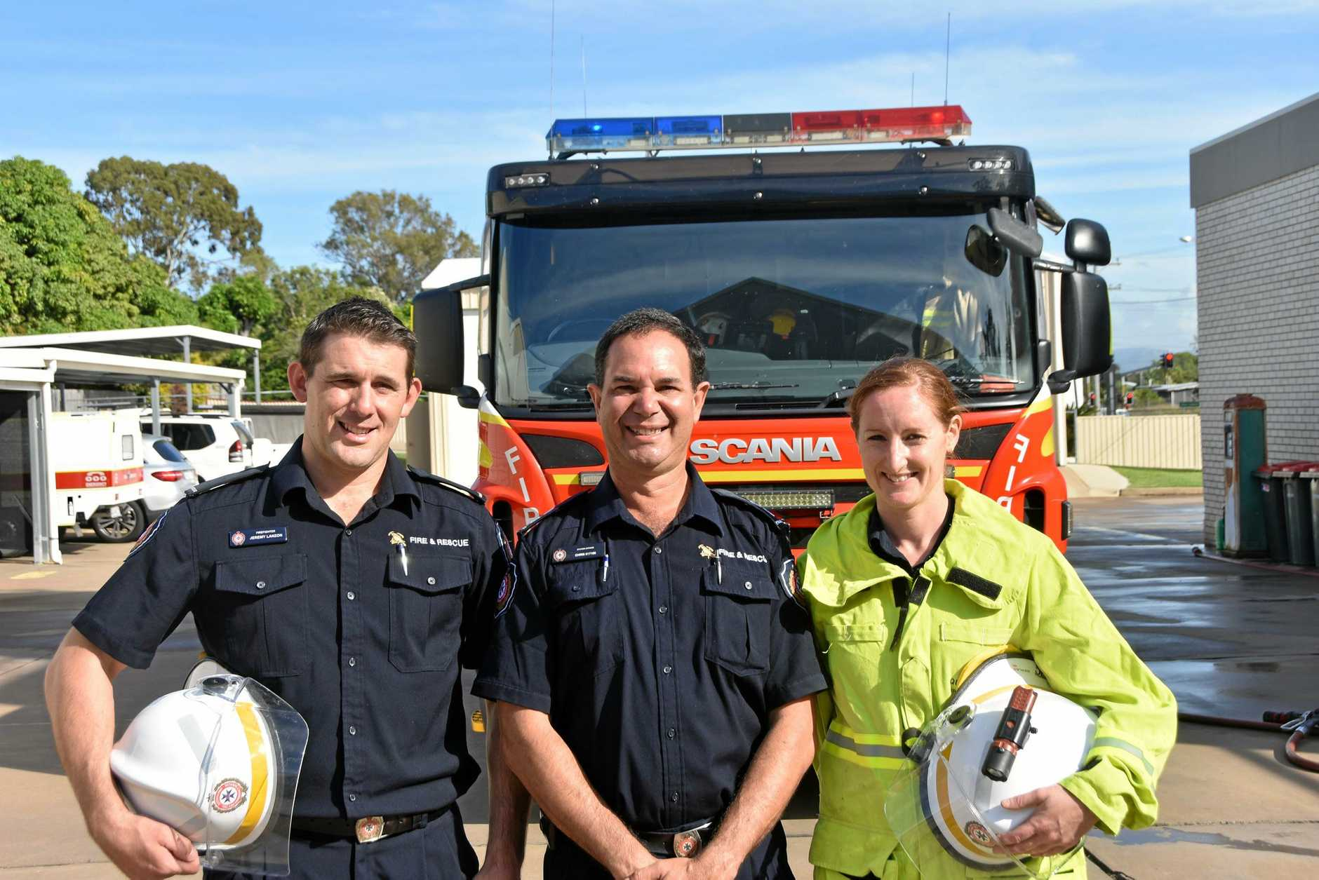 Gladstone Station Officer Chis Sullivan (centre) with the newest firefighters Jeremy Lanzon and Sally Barnes.