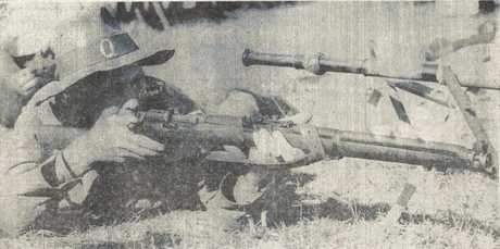 Victor Roy Buttsworth in action. This image was printed in The South Burnett Times in July, 1975.
