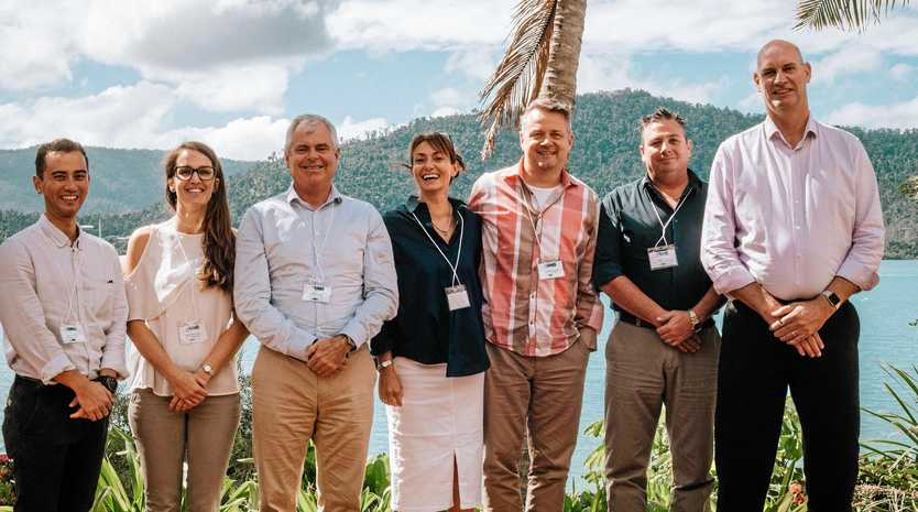 Three Consulting aviation analyst Seamus May, The Airport Group manager of airport planning Hannah Stanley, managing director Rob Mactaggart, Three Consulting managing director Jayne Davey, partner Hans Mitterlechner, Whitsunday Regional Council manager airport business development and marketing Craig Turner and GM airports and commercial infrastructure Brian Joiner.