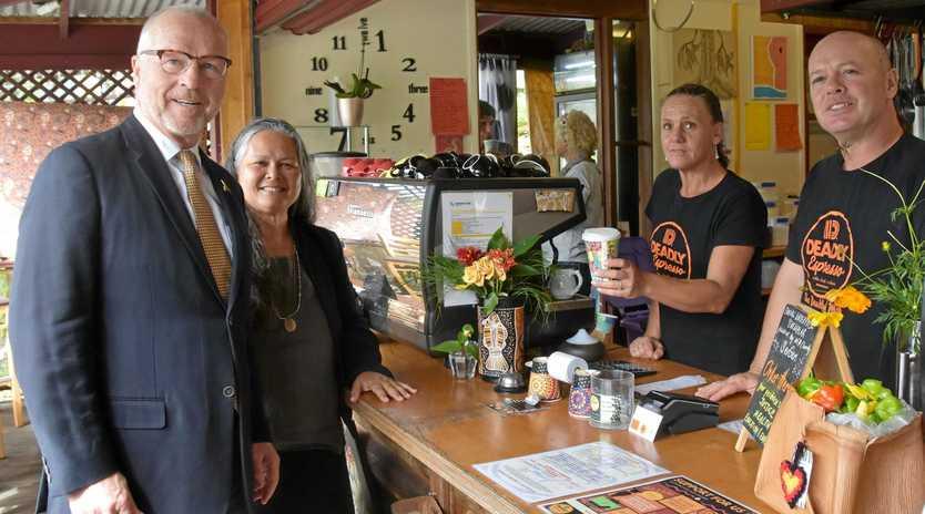 CLOSING THE GAP: Mayor Mark Jamieson with Deadly Espresso's Terri Waller, Kylie Rayfield and chef Matt Brock.