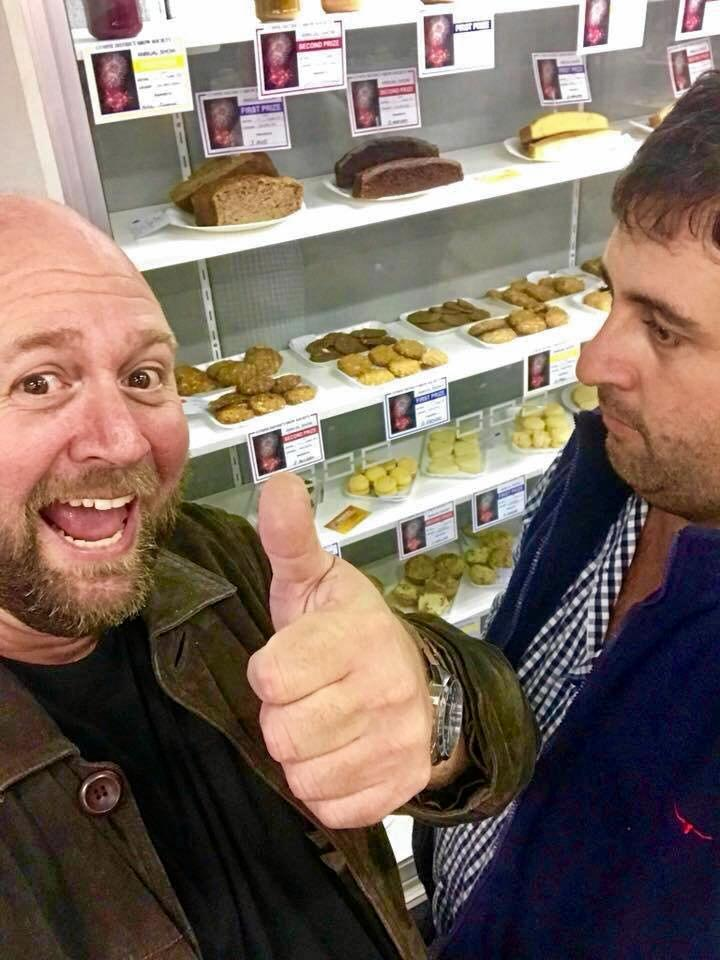 Mal Dodt and Brad Blackwood at the 2018 Show when Mal took out first prize in the pikelet making.