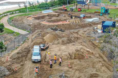 PRECINCT TAKES SHAPE: Aerial photos of the Pialba Youth Precinct construction site in Hervey Bay taken on Tuesday. The skate park and parkour area are under construction and are expected to be finished in July.