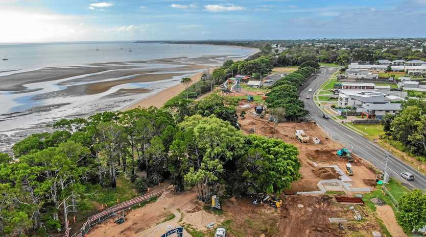 Aerial photo of the Pialba Youth Precinct construction site in Hervey Bay taken on May 14.