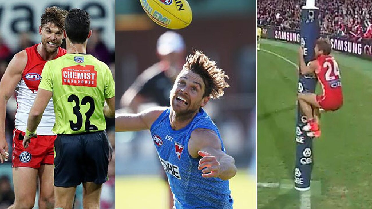 Dane Rampe was fined was insulting an umpire and climbing the goalpost last Friday night at the SCG.