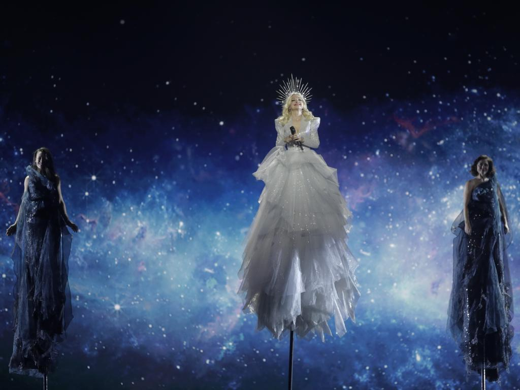 Kate Miller-Heidke has defied gravity at Eurovision. Picture: AP Photo/Sebastian Scheiner