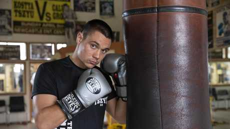 Tim Tszyu will fight for the Australian super welterweight title against Joel Camilleri in Sydney on Wednesday. Picture: Justin Lloyd.