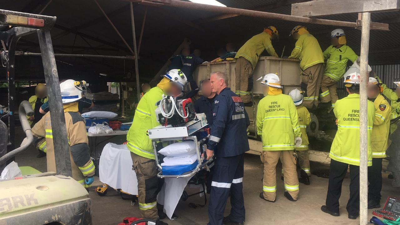 Paramedics are at the scene of a workplace incident. Picture: RACQ LifeFlight Rescue