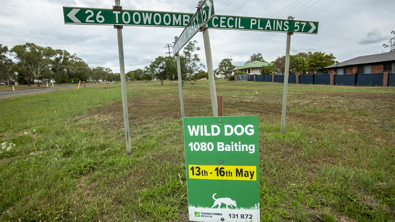 A council notice of wild dog baiting occurring near Toowoomba. Picture: David Martinelli