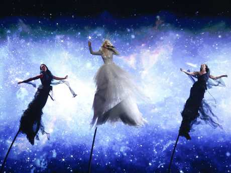 Kate Miller-Heidke of Australia performs during a rehearsal for the 2019 Eurovision Song Contest. Picture: Sebastian Scheiner/AP
