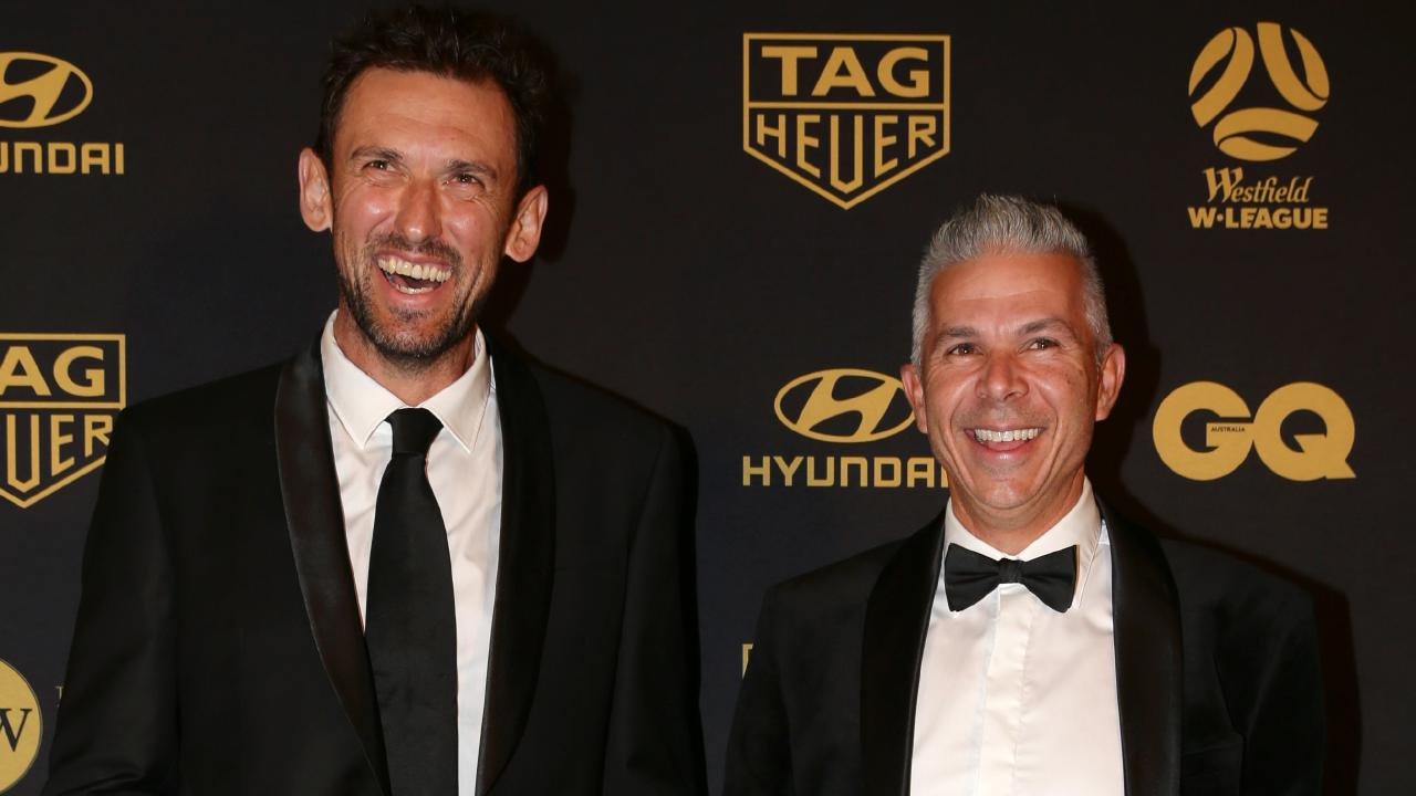 Perth Glory coach Tony Popovic (left) and Sydney FC coach Steve Corica at Monday night's Warren Dolan Awards in Sydney. Picture: Jonathan Ng.