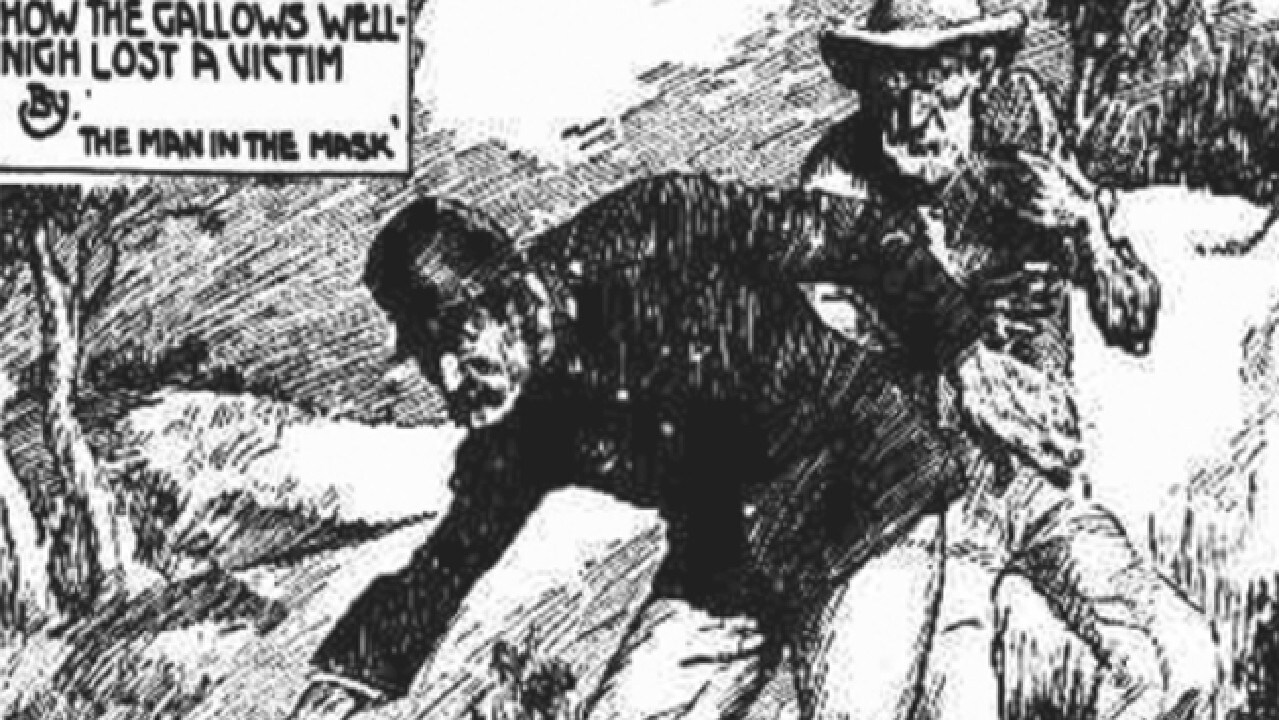 Harry Wilson leading Constable Willard to Charles Forbes' body. Published in Smith's Weekly, 1925.