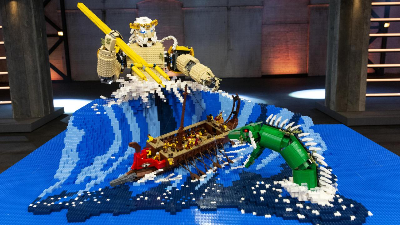 The winning design was Poseidon, God of the Sea, which took 28 hours to build. Picture: Supplied