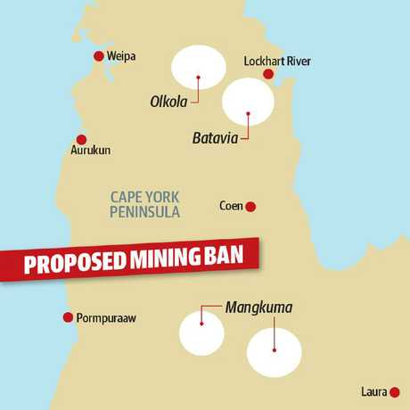 A map showing the areas of Cape York that Jackie Trad wants to protect from mining.
