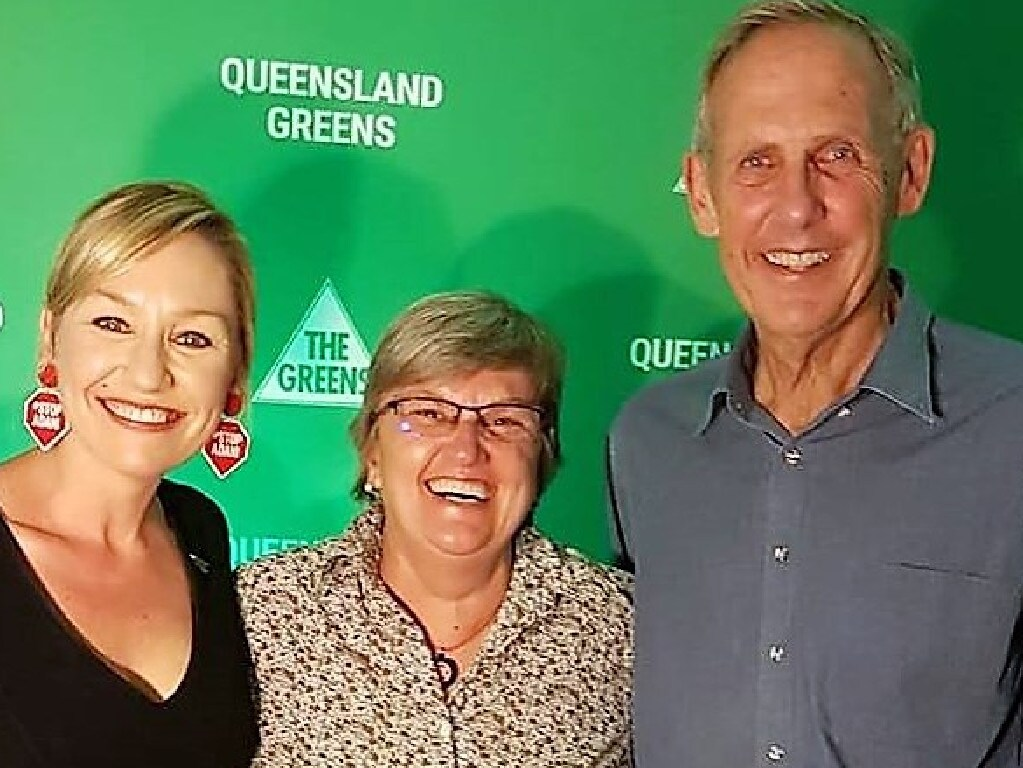 Jenny Mulkearns (centre) with Green Senator Larissa Waters and former Greens leader Bob Brown.