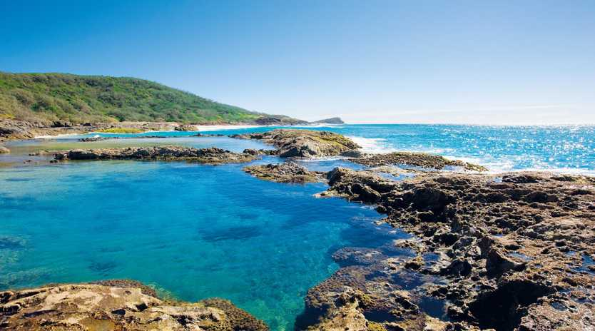 The glorious Champagne Rock Pools of Fraser Island. Photo Darren Jew/Tourism and Events Queensland
