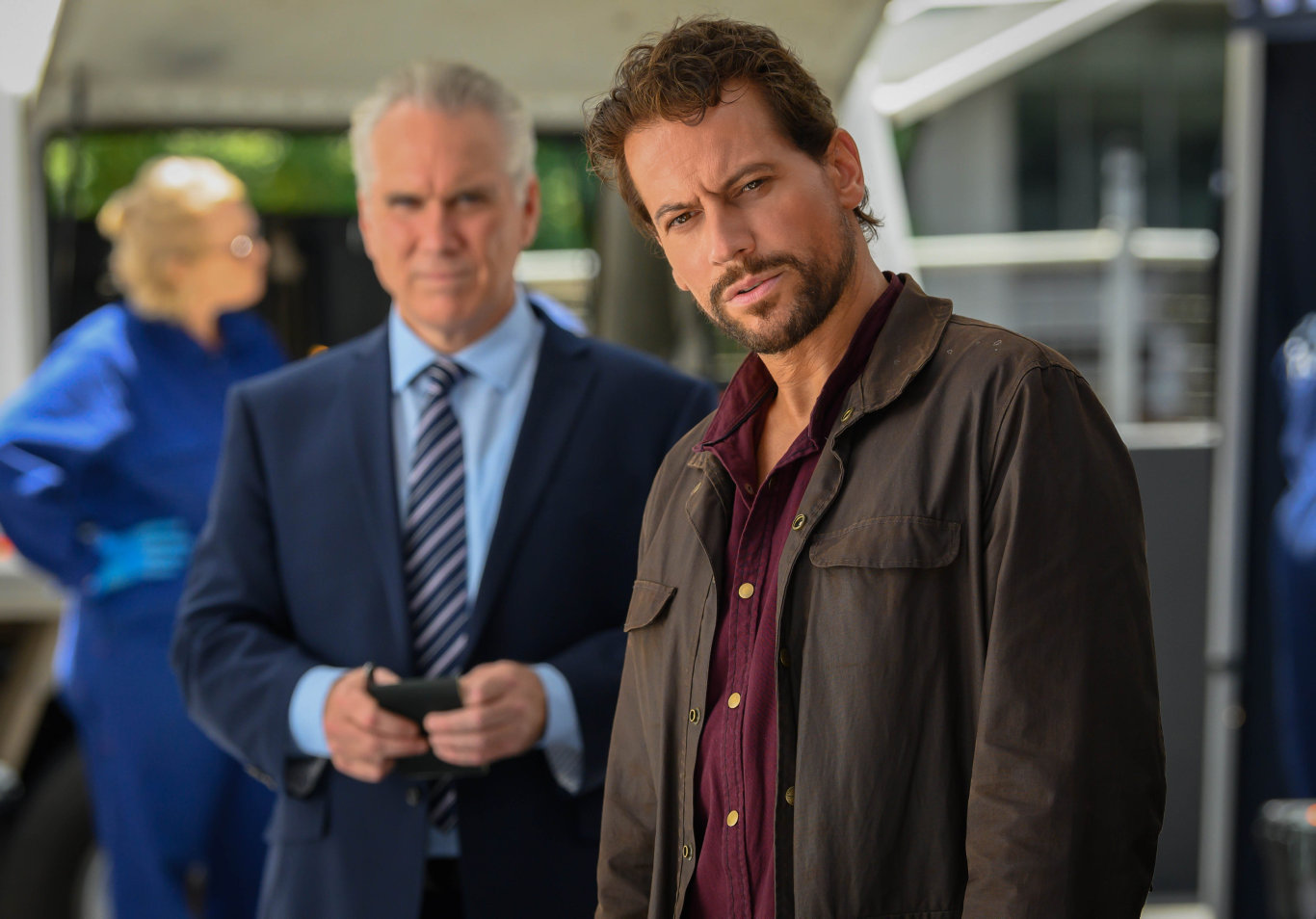 Damien Garvey and Ioan Gruffudd in a scene from season two of Harrow.
